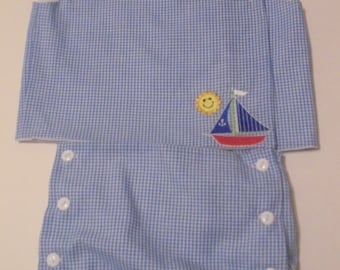 Boy Infant Embroidered Shirt with Diaper Cover Set-SAILBOAT & SUN-sizes NB-3M-6M