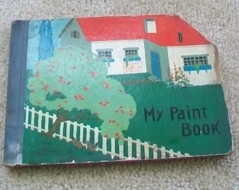 Painting book child or school, vintage. Treasury item.