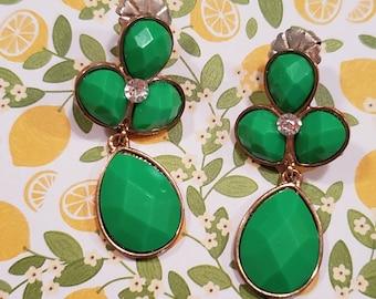 Kelly green drop dangle pierced earrings with rhinestone