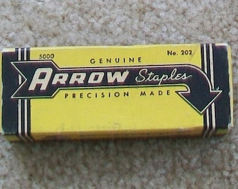 Vintage yellow staple box with staples offce or school supply industrial midcentury cool