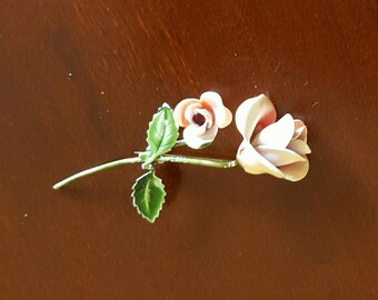 """Pin brooch thin pink enamel rose corsage vintage jewelry 3"""""""