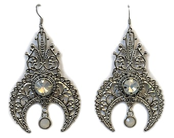 Sterling Silver High Priestess Moon Goddess Earrings