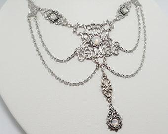 Hematite Gray Antiqued Silver Filigree Celtic Earrings Elven Elf Elvish Gothic Victorian Edwardian Bridal Wedding Bride Prom