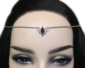 Dark Ruby Red Garnet Simple Elven Elf Elvish Celtic Goddess Headpiece Headdress Circlet Crown Tiara Headband Fairy Bridal Bridesmaid Wedding