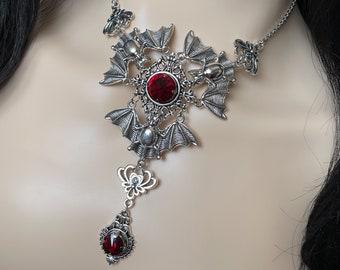 Dark Romantic Goth Kawaii garnet bead choker necklace
