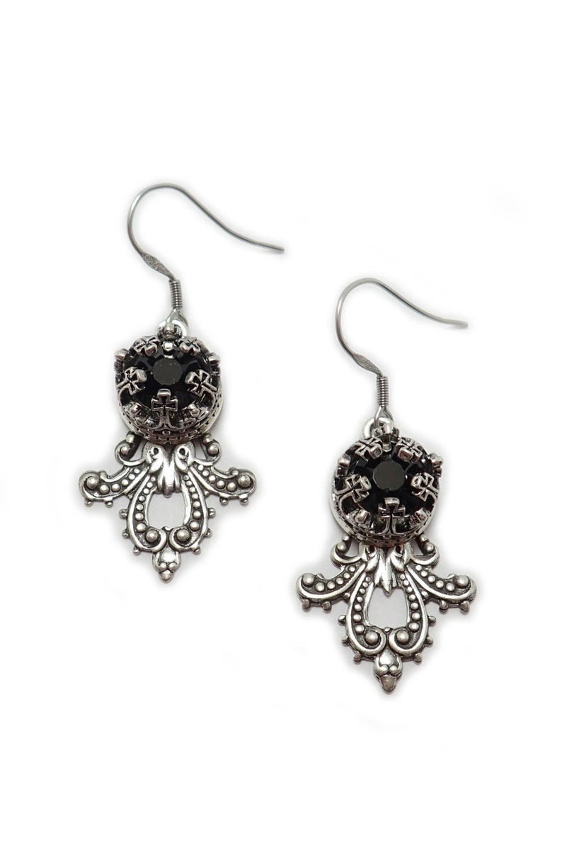 Jet Black Onyx Crystals Antiqued Silver Filigree Maltese CrossCrucifix Heraldic Crown Earrings Victorian Gothic Goth