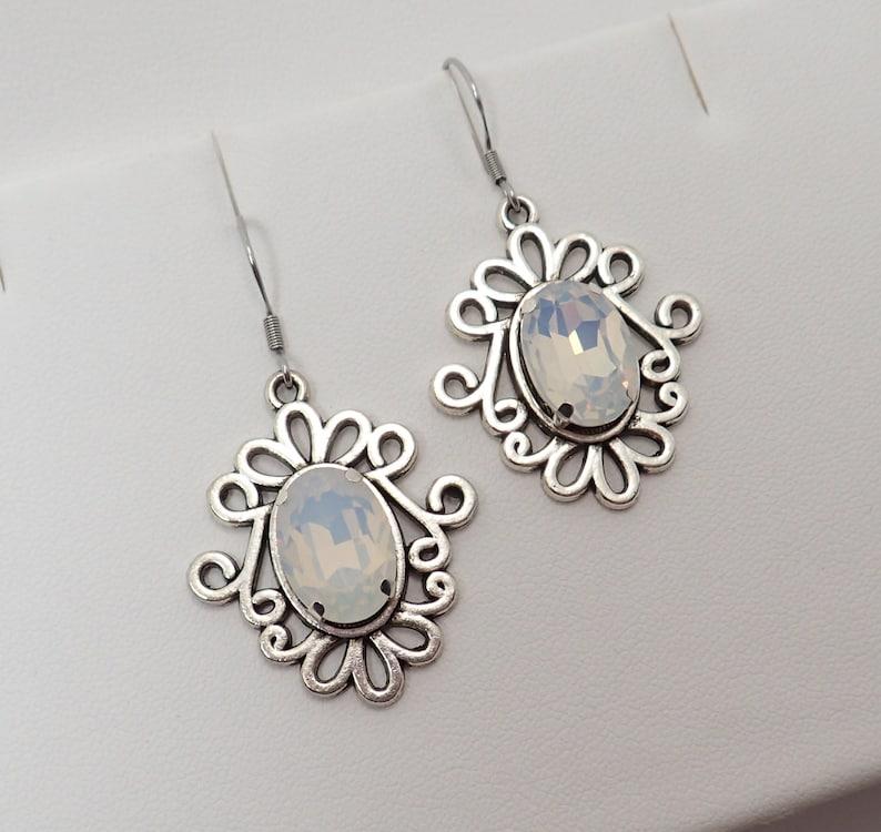 White Opal Antiqued Silver Filigree Celtic Earrings Elven Elf Elvish Gothic Victorian Edwardian Bridal Wedding Bride Prom