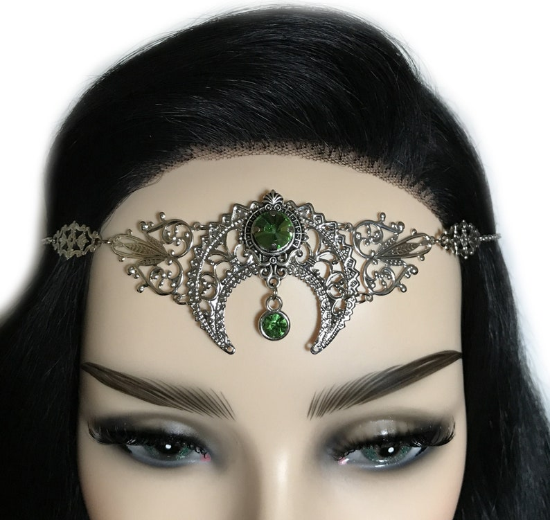 Light Peridot Green Crystal Silver Crescent Moon Priestess Art Nouveau Mucha Pagan Headpiece Headdress Circlet Crown Tiara Headband Goddess