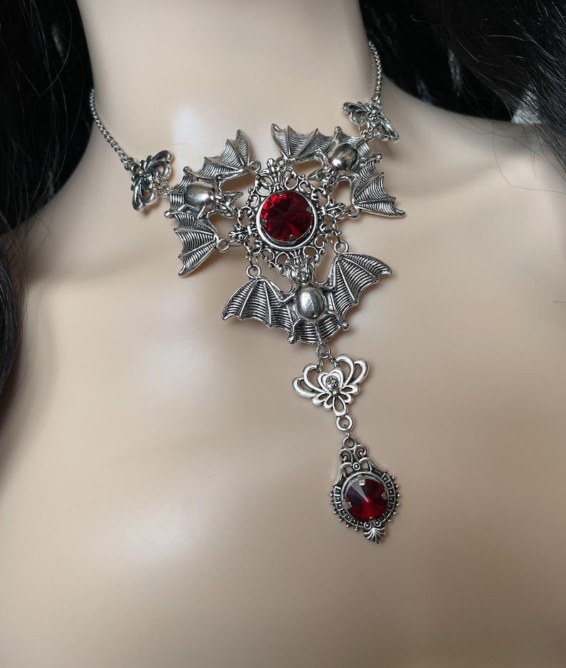 Dark Ruby RedGarnet Filigree Antique Silver Dracula Vampire Winged Bat Queen Vampyre Undead Goth Gothic Victorian Necklace Choker Pendant