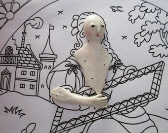 Hand Sculpted Mache Stumpwork Embroidery Figure Stitching Ladye 3 pc set