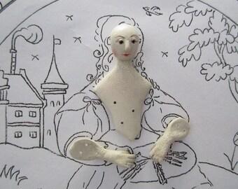 Hand Sculpted Mache Stumpwork Embroidery Figure Bobbin Lace Maker Ladye 022