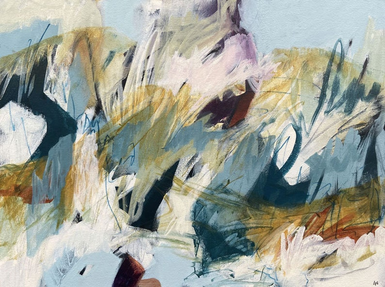 Original abstract painting Snow Covered Hills image 0