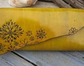 Oversized Yellow Flower Tooled Leather Clutch Purse with Vintage Fabric Lining