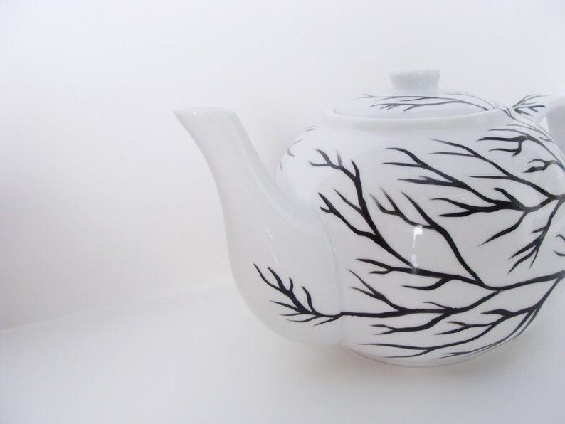Tree Branches Teapot Hand Painted