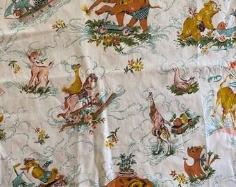 """Vintage Springmaid """"Country Fantasy"""" Kids Nursery Animal Parade Fabric Bolt 9+ yards"""