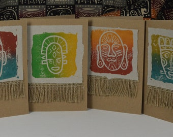 """Set of 4 """"Out of Africa"""" Mask Cards - 4 Art Cards - Greeting Cards - Linocut Prints - Hand Printed - Father's Day -"""