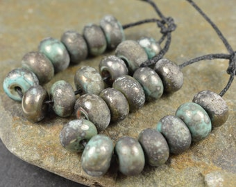 Copper Green Little Rounds - Made To Order - MTO - Verdigris Rustic Aged Patina Beads - Bead Set - Lampwork Beads - SRA