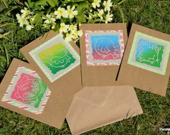 Set of 4 Spring Theme  Cards - 4 Art Cards - Greeting Cards - Linocut Prints - Hand Printed - Chicken - Rabbit - Little Bird