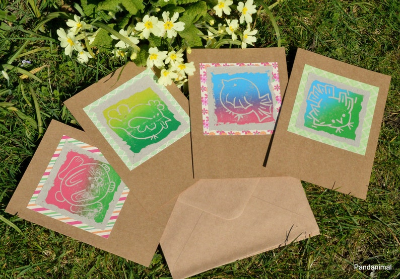 Set of 4 Spring Theme  Cards  4 Art Cards  Greeting Cards  image 0