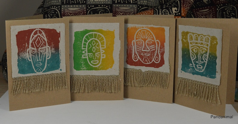 Set of 4 Out of Africa Mask Cards  4 Art Cards  image 0