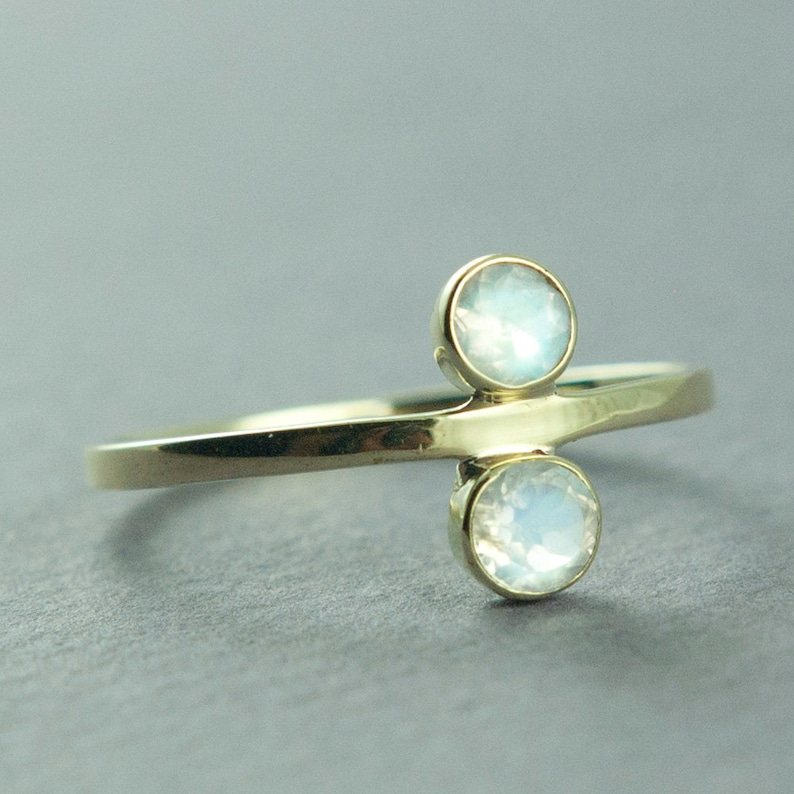 Delicate Jewelry Faceted Rainbow Moonstone Ring Solid 14K Gold Ring Gold Ring Free Courier Shipping Made to Order