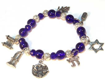 Jewish 7 Charm Big Blue Bracelet - Passover, Shabbat - Jewish Gift - Gifts for Her