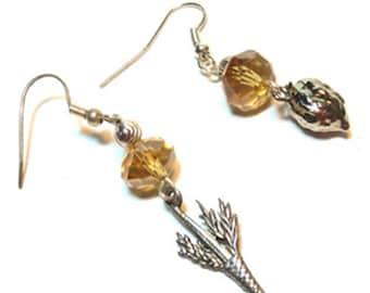 Jewish Earrings - Sukkot Earrings - Lulav and Etrog Earrings - Jewish Jewelry - Jewish Holiday Jewelry - Jewish New Year - Topaz