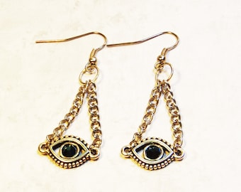 Evil Eye Chain Earrings - Protection Jewelry - Evil Eye charms - Silver Evil Eye - Hanukkah Gifts