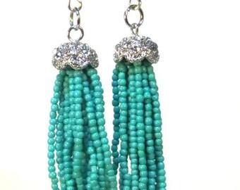 Tassel Earrings - Turquoise Beads