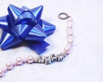 Pink Personalized Beaded Bracelet - Leah Name Bracelet - Bat Mitzvah Gift - Pink Pearls - Hanukkah Jewelry-  Custom