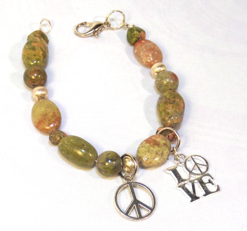 Gemstone Bracelet for Women  Unakite Gemstone Bracelet  image 0