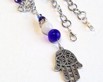Jewish Jewelry - Hamsa Necklace and Earrings Set - Hand of God Necklace - Charm Necklace - Gifts for Her - Spiritual Jewelry
