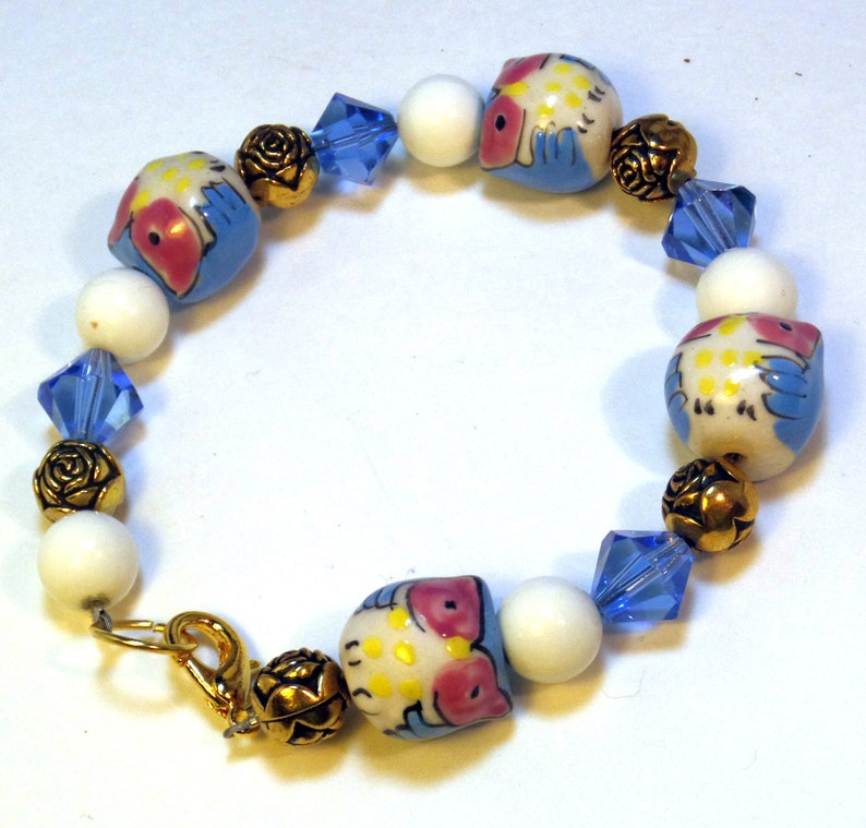 Owl Bracelet   Blue Beads  Beaded Bracelet  Blue Owl image 0