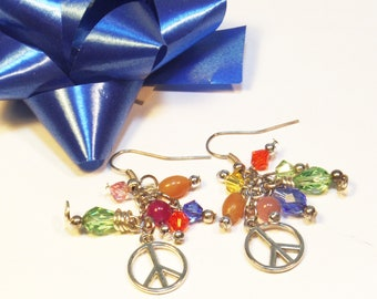 Peace Jewelry - Peace Charm Earrings - Peace Jewelry - Peace Earrings - Peace Sign Jewelry - Jewelry Gifts for Her