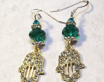 Goldtone Hamsa Earrings - Hamsa Charm Earrings - Hamsa Hand of G-d - Hamsa Jewelry - Protection Jewelry - Gifts for Her- Hanukkah Jewelry