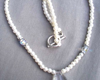 Wedding Jewelry - Bridal Necklace - Brides Pendant Necklace -  Crystal and White Glass Pearl Necklace