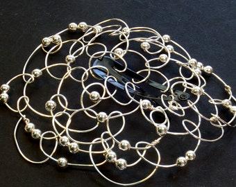 Bat Mitzvah Kippah Barette - Mini Bat - Womens Kippot - Beaded Wire Kippah - Mini Kippah - Yarmulke - Silver Wire Silver Beads
