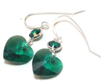 Emerald Heart Swarovski Earrings