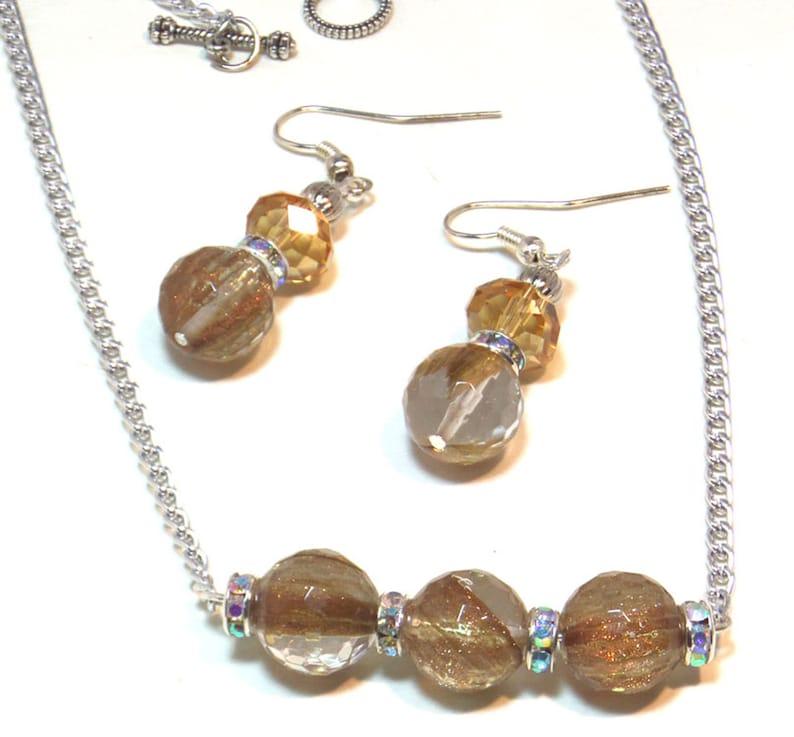 Jewelry Set  Gemstone Necklace  Amber Horizontal Necklace  image 0