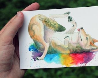 Happy Rainbow Coyote Animal Small Art Print Postcard