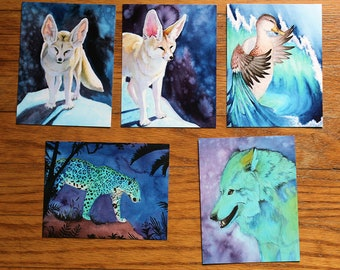Surreal Indigo Animal Postcard Set