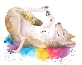 Happy Coyote Rainbow Animal ART PRINT 11X14inch