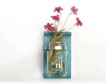 Spring Flowers Wood Wall Shelf Faded Retro Mod  Turquoise  Color Mason Jar