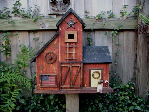 Large Primitive Folk Art Country Farmhouse Barn Birdhouse