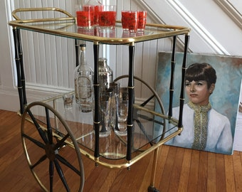 ROLLING BAR CART Midcentury Hollywood Regency c1950s Tea Cart Brass Metal Black Faux Bamboo Frame Glass Shelves Wheels Casters Vintage Retro