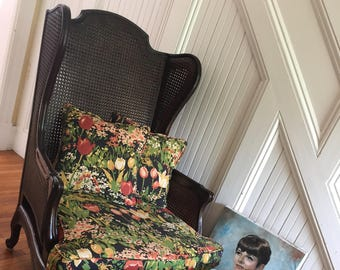 WING CHAIR & OTTOMAN French Bergere c1970s Carved Wood Cane Original Floral Fabric New Cushion Fill Bohemian
