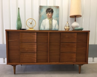 JOHNSON CARPER DRESSER MIdcentury Danish Modern Credenza Server Storage Walnut Wood Body Formica Top Six Drawer Vintage Retro c1950s