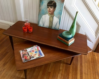 SURFBOARD COFFEE TABLE MidCentury Danish Modern Articulating Switchblade by Bassett c1960's Walnut Wood Vintage Retro