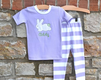 Easter Bunny Lavender Monogram Pajamas - Personalized Easter Pajamas - Monogram Easter Pajamas - JULIANNE ORIGINALS