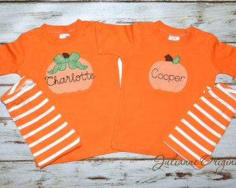 classic fall pumpkin monogram pajamas halloween pjs fall pumpkin pajamas personalized fall pajamas julianne originals
